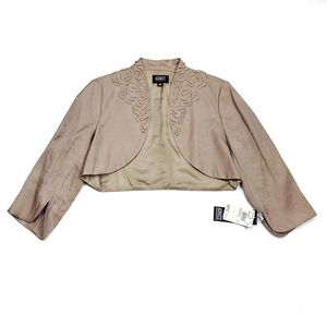 Adrianna Papell Occasions Beaded Bolero Jacket Shimmery Taupe Gold Womens Size 8